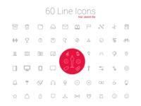 60 Line Icon Set free download
