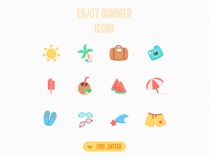 Free sketch icons - Enjoy Summer Vacation vacation ux ui colorful summer illustration icons color free sketch