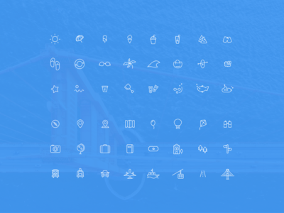 Summer Vacation 48 Line Icons
