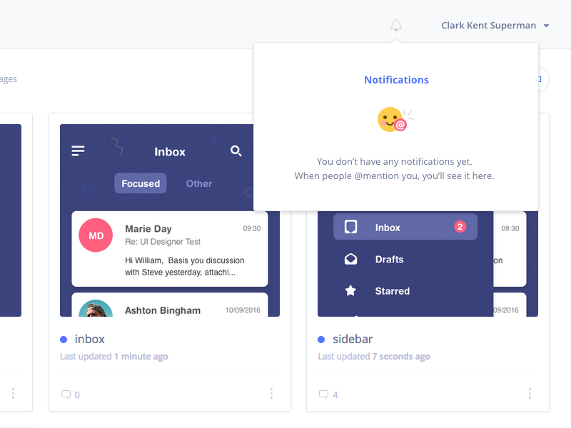 Evrybo Notification dropdown illustration ui ux design collaboration pages dropdown ios mobile application product