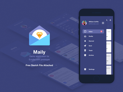 Maily Demo App mail app ios mobile icons ui ux evrybo prototyping sketch free product