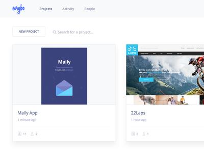 Evrybo Project List list ui ux design collaboration pages project ios mobile application product