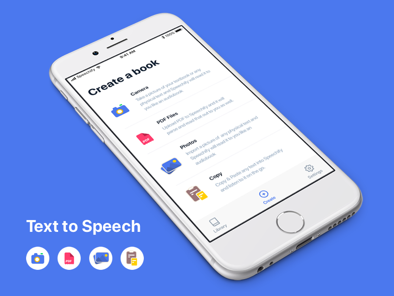 ios Speechify - Text To Speech onboarding camera colors icons illustration ios app ui