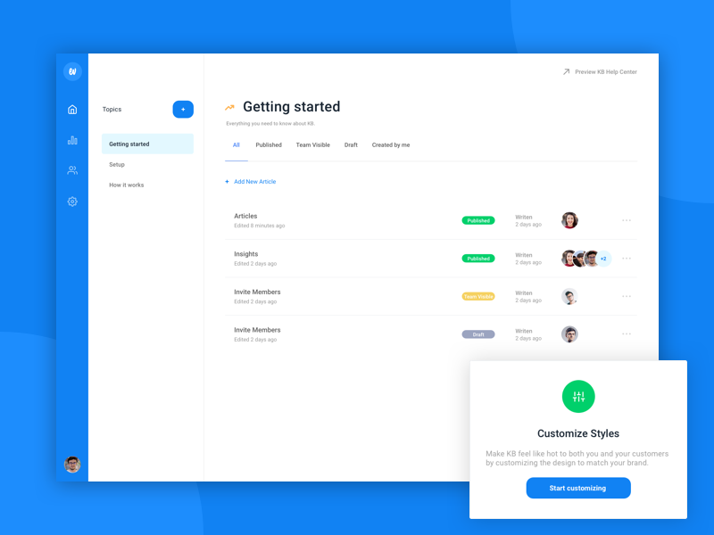 Knowledge Base Dashboard landing list form modal minimal simple icon illustration ux ui web dashboard