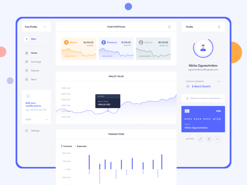 Dashboard for cryptocurrency