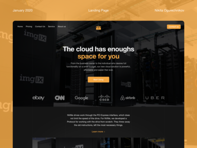 Landing page for data-center company