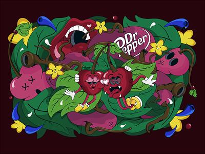 Dr. Pepper concept art design illustration art logo characterdesign cartoon flower cherry soda drpepper
