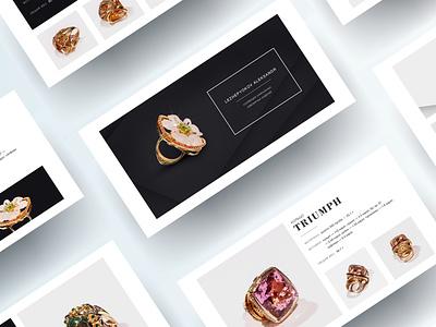 Presentation for a collection of unique jewelry презентациядлябизнеса ювелирныеизделия презентация presentation graphicdesign minimal ui design