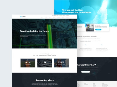 Uniti Website marketing landing page branding data figma ux web design copper typogaphy layout design web ui fiber