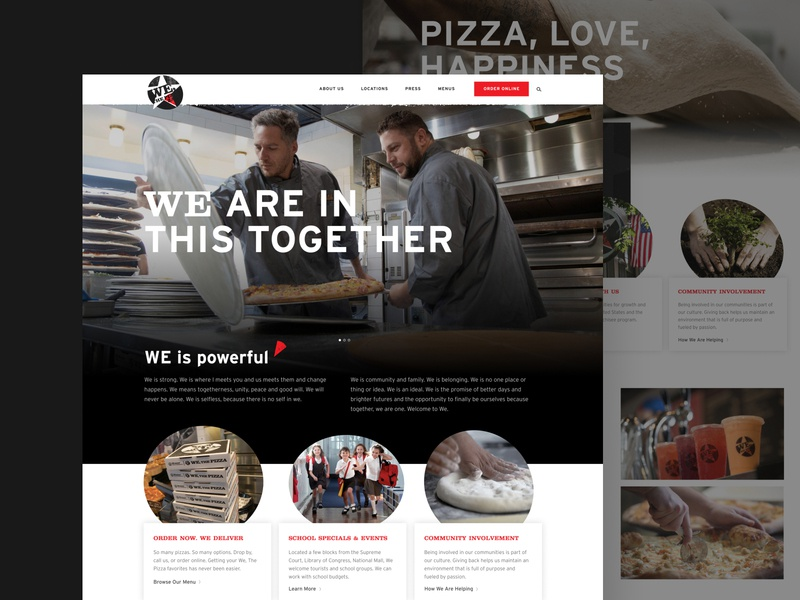 We The Pizza Website ui ux restaurant food pizza layout website