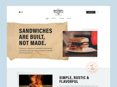 The Butcher's Sandwich Website photography figma artisan texture responsive design restaurant typography marketing design web design web brand ux ui
