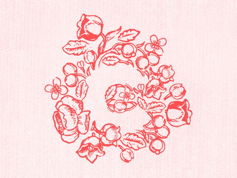 Charm floral monogram negative space feminine
