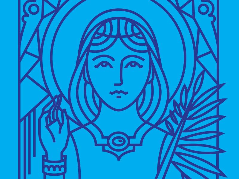 St. Agnes catholic christian religious lineart saint
