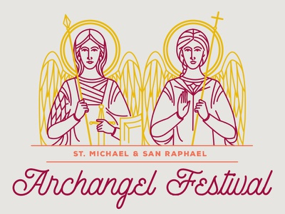 Archangel Festival script angels line drawing
