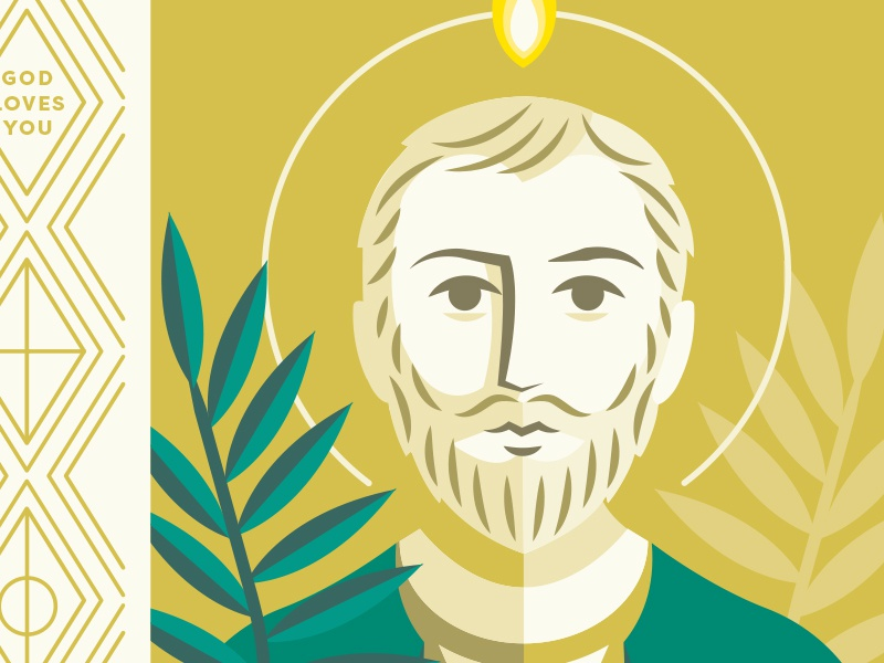 St. Jude simple vector art portrait christian catholic