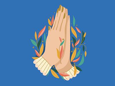 AskSeekKnock feminine leaves spot illustration prayer hands