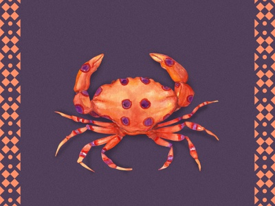 Dotted Crab nature illustration concept art illustration watercolor illustration watercolor painting traditional art watercolor art watercolors watercolor