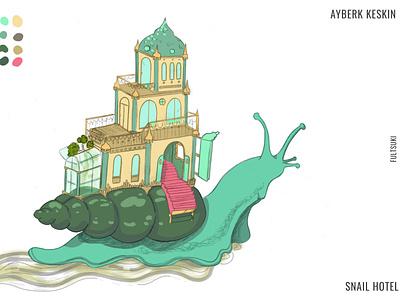 Snail Hotel snail mail fultsuki turkish green digitalart conceptual illustration children book illustration childrens illustration childrens book concept design concept art snail