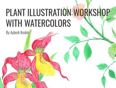 WorkshopPoster watercolor art watercolor workshop red poster poster design botanical illustration orchid branding botanical illustration
