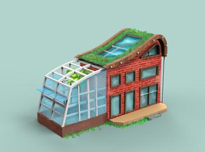3D House Concept Art brick illustraion illustrator 3d istanbul glasshouse botanical house game art concept art game concept
