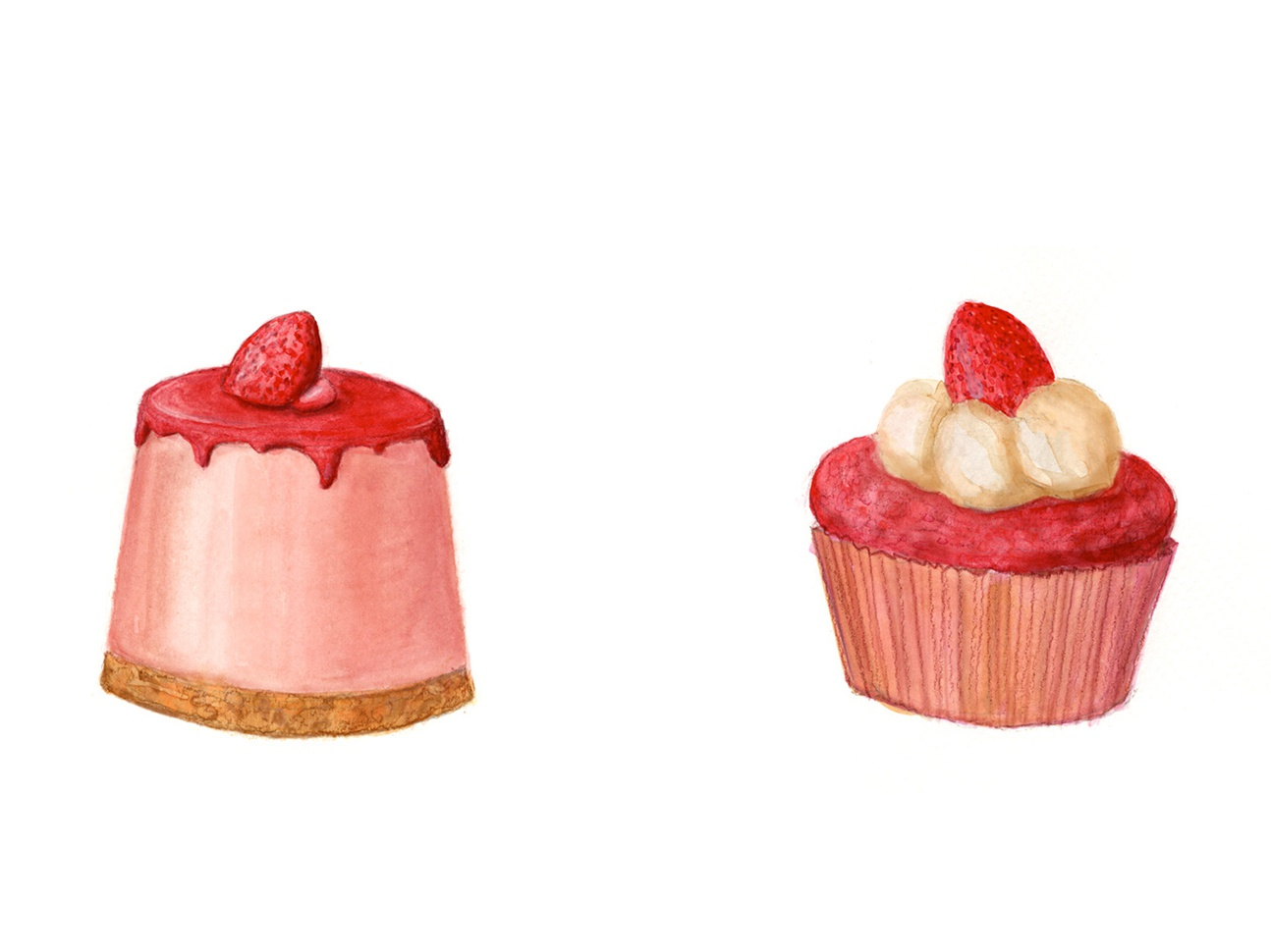 Strawberry Puddin And Cupcake Watercolor Illustration By