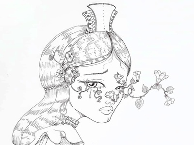A Melodrama of the Royal One lineart botanical morningglory botanical illustration character creation feminine design beauty concept art illustration