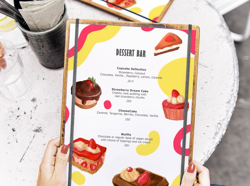 Dessert Bar Menu advertising editorial art menu design cake dessert menu concept art illustration