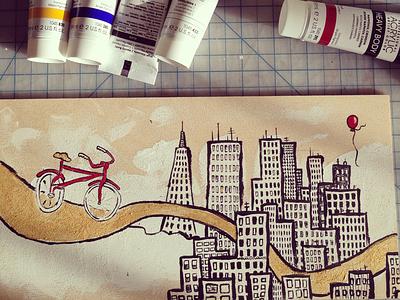 City Bike red bicycle city skyline illustration