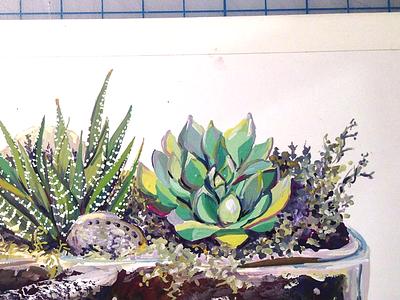 Terrarium gouache painting cactus terrarium