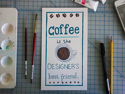 Coffee paint illustration gouache flat coffee typography