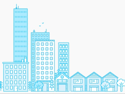 Cityscape blueprint line flat icon illustration skyline city
