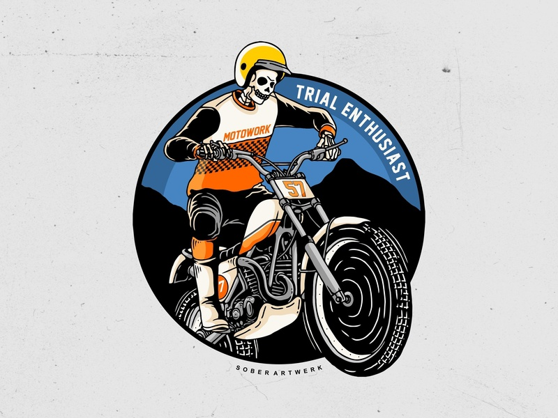 Trial enthusiast trail motorcycle trial clothing handmade artwork sketch logo vector illustration design branding