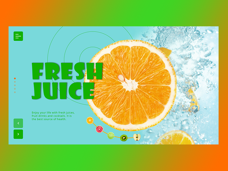 New Shot - 02/18/2019 at 11:56 AM freelance webdeisgn drinks orange juice desktop inteface concept typography ui ux web design