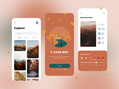 Foliage Map App trend fall colors fall travel app travel mobile design mobile ui mobile app mobile cards app ui clean