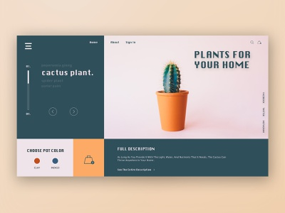Plants For Your Home shopping plants webdesign photoshop clean minimal landingpage design website flat web app typography branding ui illustration
