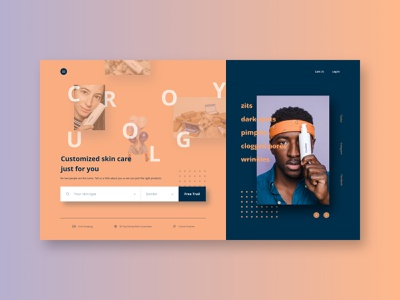 #dailyui #003 -  Landing Page Curology concept layout typography web concept desktop ui design ui  ux skincare makeup landing page branding design webdesign dailyui