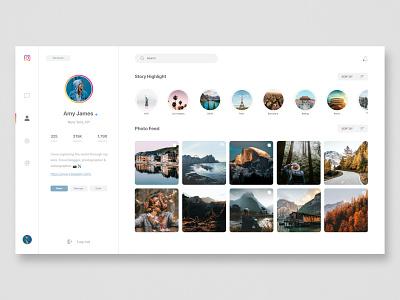 #dailyui #006 - User Profile Instagram Concept web design profile instagram layout web clean branding webdesign typography flat ui design dailyui