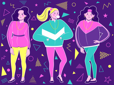 90's style flat illustration retro outfit people girl design character adobe illustrator vector illustration illustration vector