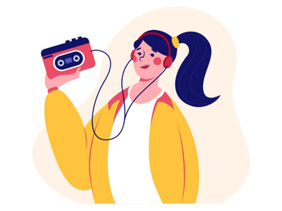 Girl with cassette player illustrator drawing flat style recorder music player cassette 90s girl web design character design vector illustration illustration