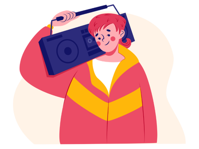 Guy with retro boombox 80s 90s boombox music player recorder tape cassette vintage retro vector illustration illustration boy drawing design character design
