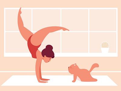 Yoga cat character design graphic body positive adobe illustrator style flat art 2d illustration vector animal healthcare health sport cat girl yoga