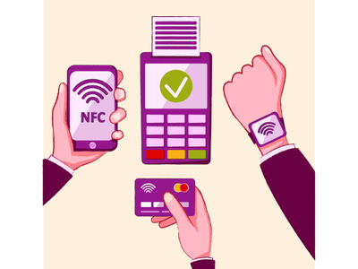 NFC. Contactless payments. digital illustrator watches credit card mobile phone hands wireless nfc payment contactless vector artist illustration vector
