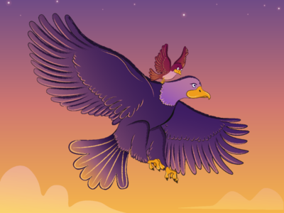 Birds flying at sunset. Vector Illustration