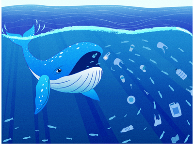 Water pollution. Vector Illustration plastic environment illustrator adobe illustration vector whale sea life ocean problems ecology pollution water