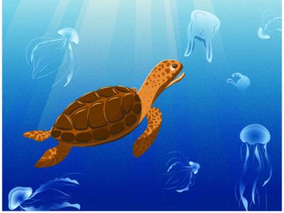 Water pollution. Turtle. Vector Illustration