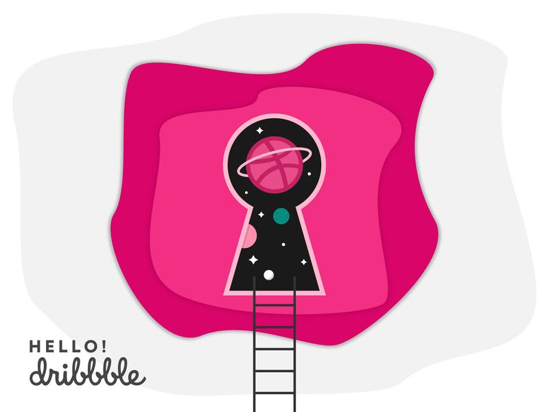 Hello Dribbble! lock first design illustration player world space planet key keyhole dribbble debut shot first shot