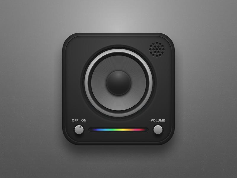 Music Wave iOS Icon (Speaker)  icon iphone ios music ipad radio rainbow speaker