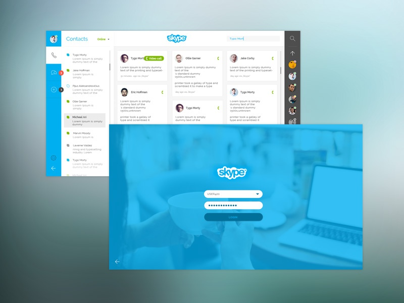 Skype re-design concept chat call app login screen app style design skype web redesign responsive web design website interface dashboard grid layout ui ux minimal app style simple interface clean web design redesign concept