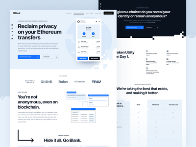 Blank Wallet - Marketing page crypto wallet bank transfers privacy security token ethereum wallet ui ux bootstrap layout cryptocurrency crypto blockchain website product design minimal clean design