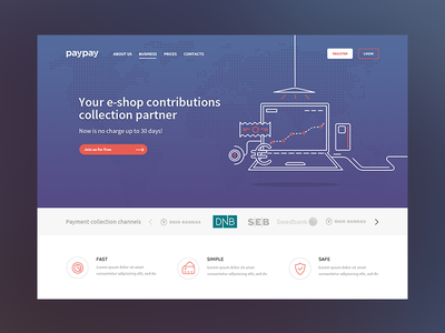 paypay homepage startup bank landing page fintech analytics dashboard simple clean interface ui ux bootstrap layout responsive grid website interface design payment transaction credit debit card website ui finance product